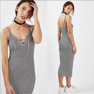 TopShop Lace Up Striped Bodycon Midi Dress 0